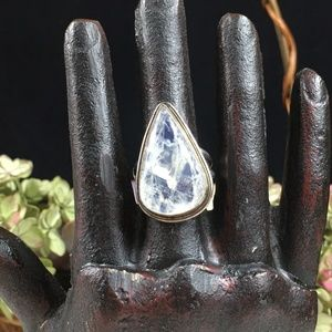 Pear Moonstone Sterling Silver Ring 7.5